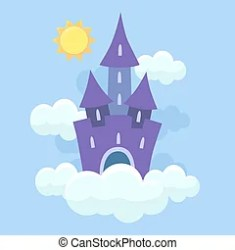 Fantasy landscape with fairytale castle vector illustration in cartoon style medieval tower house cartoon fortress castle CanStock