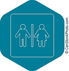 outline female male body icon toilet sign silhouette isolated anatomy template blank half vector shapes