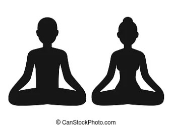 body woman outline female silhouette male sitting vector meditating shape simple lotus stylized pose template medical blank icons isolated illustration