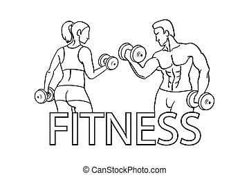 Gunge man and woman of fitness silhouette character vector