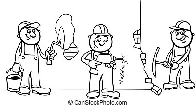 Manual workers or workmen characters set. Cartoon