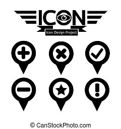 Map pin icons with drop shadow ideal for satellite