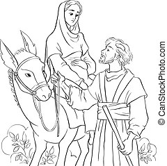 Journey to bethlehem. Silhouette illustration of mary and