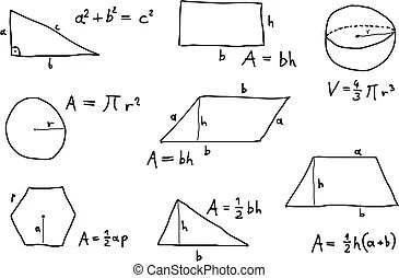 Hand written geometry formulas. Background with hand