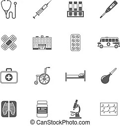 Medical black pictograms set. Medical hospital ambulance