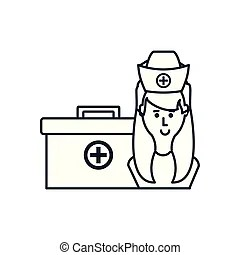 Nurse with a first aid kit. A cartoon doctor with a first