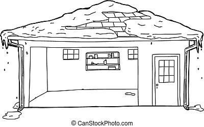 Outline of casement windows. Black outline cartoon of