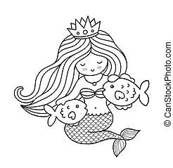 Vector cute little mermaid with fish. Vector cute little