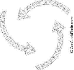 Linear bitcoin source swirl vector mesh. Vector wire frame
