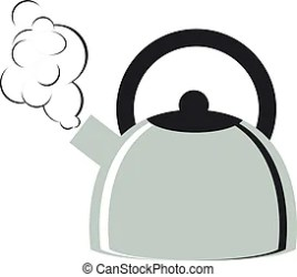 Kettle with boiling water and a cup Cartoon kettle with boiling water and a cup vector illustration CanStock