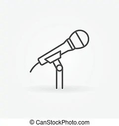 Lapel microphone line icon. vector body mic concept