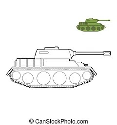 Cartoon weapons objects coloring page. Coloring book or