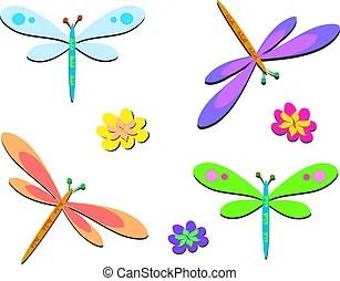 dragonflies stock illustrations