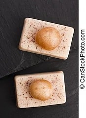 Molecular gastronomy. Spoon of mint caviar, molecular cuisine.