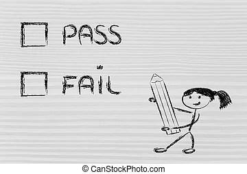 Success or fail. Metaphor humour design on blackboard