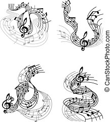 Vector music notes staff waves. Music notes waves icons of