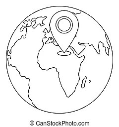 Artificial earth satellite icon, outline style. Artificial
