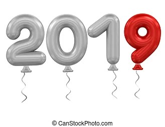 year balloons. 3d rendering