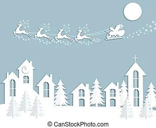 Santa Clause Christmas Elf Reindeer Over Winter Snow House