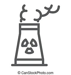 Nuclear waste line icon. Nuclear waste vector line icon