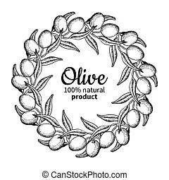 Hop plant vector wreath drawing illustration. hand drawn