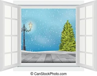 window open christmas illustration winter snow clip tree lamp outside cold background vector opened