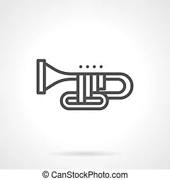 Orchestral wind instrument simple line vector icon. Brass