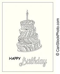 Outlined tiered birthday cake with one candle on top.