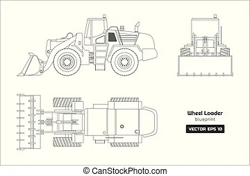Bulldozer side view. Illustration on construction.