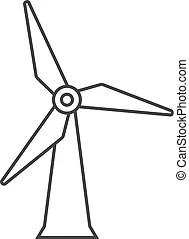 Wind turbine station icon, outline style. Wind turbine