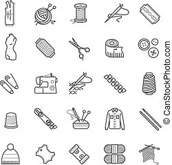Knitting icons. Collection of 20 tools, supplies for flat