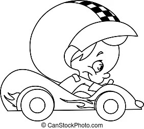Kid race car driver. Young kid driving a race car.
