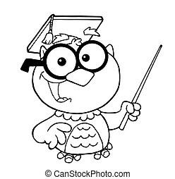 Outlined owl teacher reading a book. Outlined owl teacher