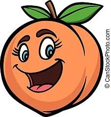 Peach cartoon with smile face.