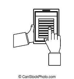 Digital tablet device keyboard texting. An image of a