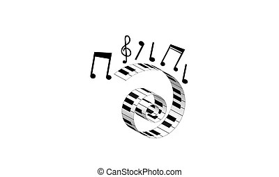 Vector Clip Art of Curved Piano Keyboard Illustration