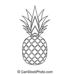 pineapple silhouette leaf elements icon clipart vector tropical isolated fruit illustration