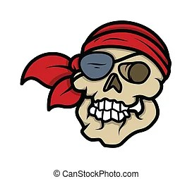 Eye patch skull vector cartoon Drawing art of scary