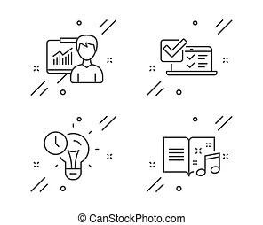 Musical note, accounting report and correct answer icons