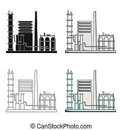Chemical plant icon, cartoon style. Chemical plant icon in