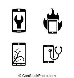Simple smart phone repair icons . Simple set of smart