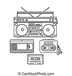 Retro audio cassette, tape recorder, music player