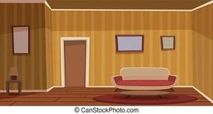 living retro cartoon background cool vector furniture illustration clip