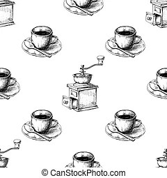 Coffee drink steam cup style sketch drawing Vectors