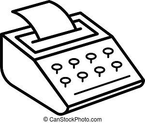 Typewriter icon, outline style. Typewriter icon. outline