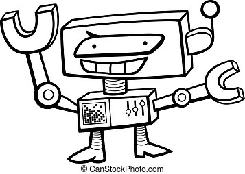 Science fiction character coloring page. Black and white