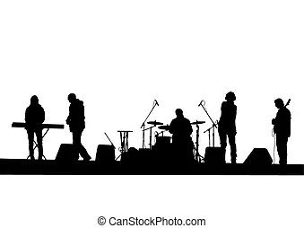 Musical band. Vector drawing music rock band concert stage