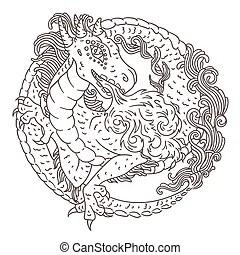 Mermaid coloring book page. Mermaid vector illustration
