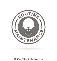 Maintenance sign with hammer and gearwheel isolated on