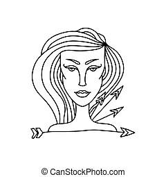 Woman cartoon illustration sagittarius sign. Illustration
